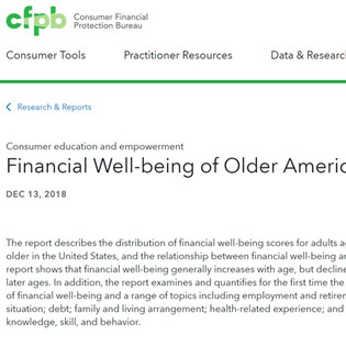 Consumer Financial Protection Bureau Released a New Financial Well-being Report for Older Americans