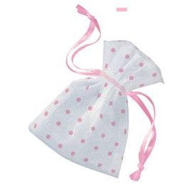 Bag Organza 3X4 Dots Light Pink 6C