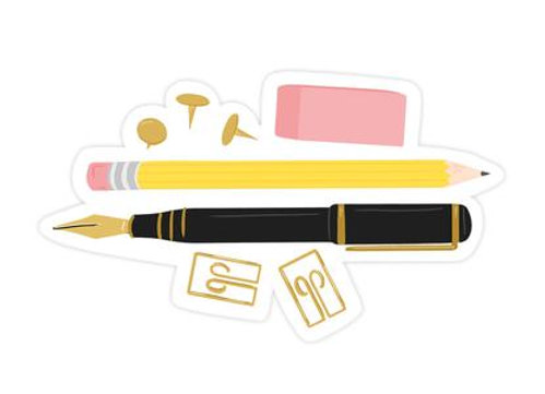 Pencil & Pen Sticker