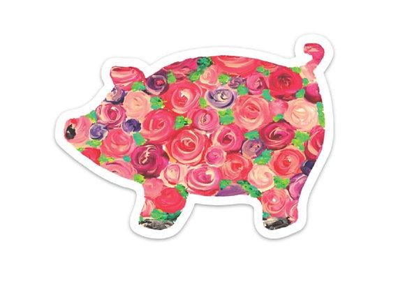 Floral Pig Sticker