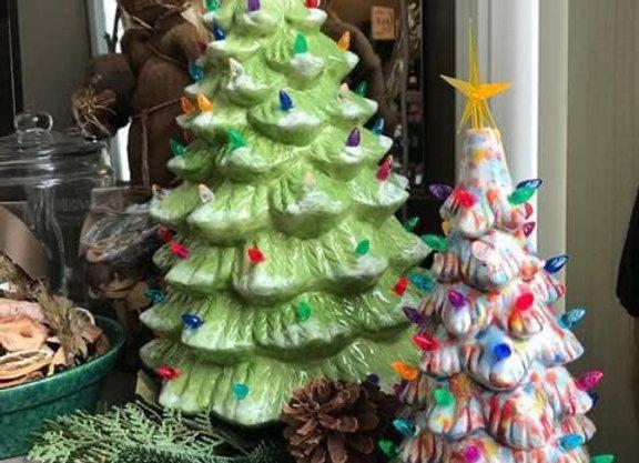 """11"""" Ceramic Christmas Tree With Light Kit $55 ($30 deposit)"""