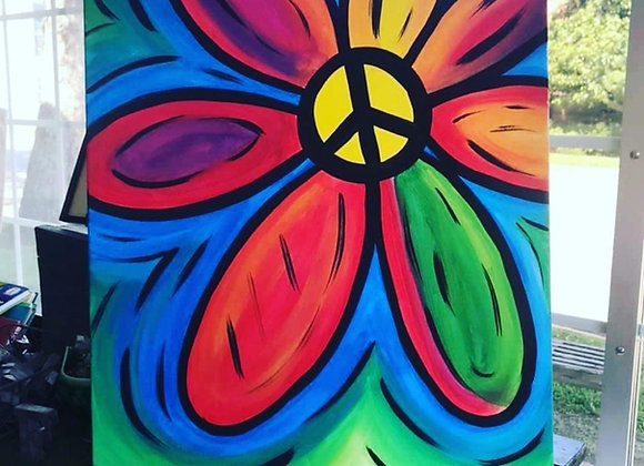 Peace Flower Canvas Class - By appointment (schedule yours)