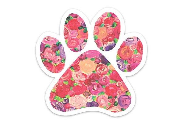Floral Paw Print Sticker