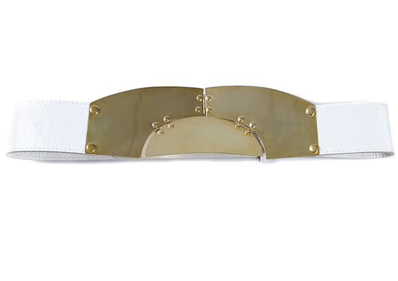 LEATHER MOD CIRCLE BELT - WHITE