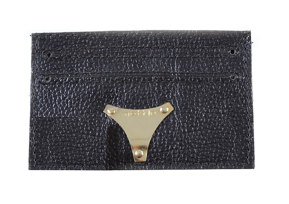LEATHER CARD HOLDER / WALLET - BLACK