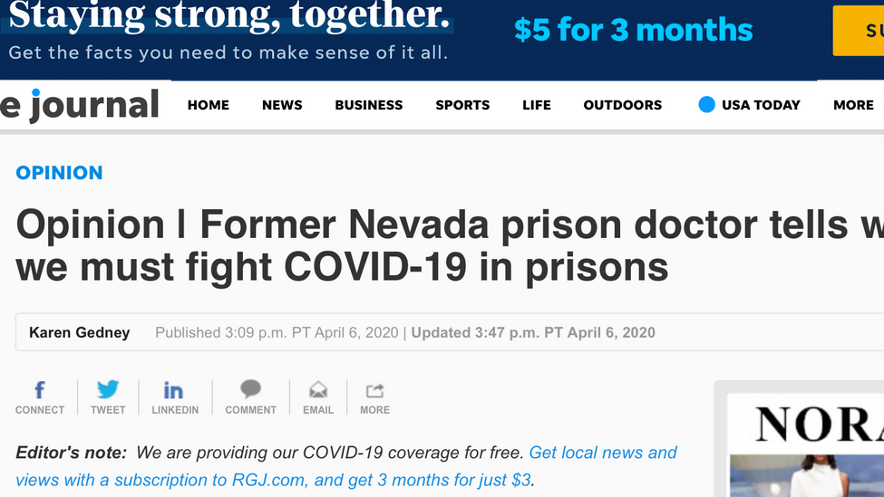 Opinion | Former Nevada prison doctor tells why and how we must fight COVID-19 in prisons
