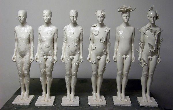 blumenmänner, a fior di pelle, ceramic figures