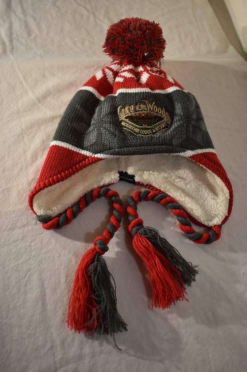 Beanie Hat with Pom and Ties