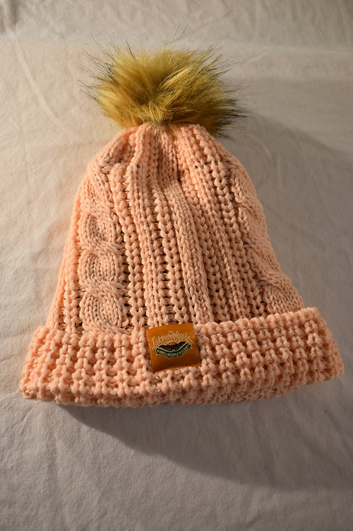 Cable Knit Beanie with Faux Pom