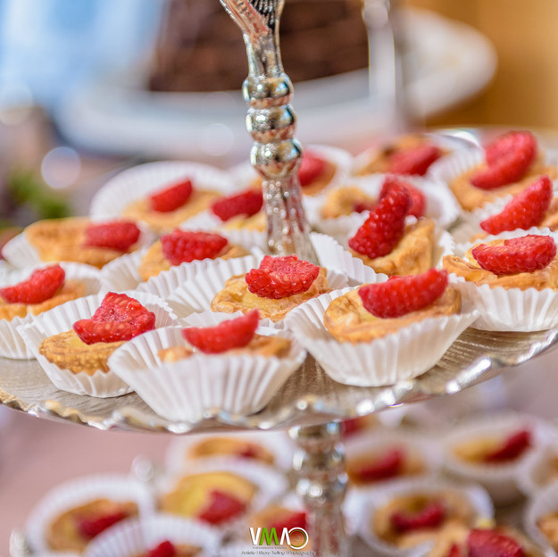 Mini Buttermilk Pies with fresh raspberries