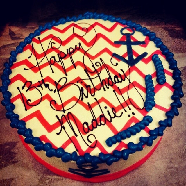 Chevron themed birthday cake