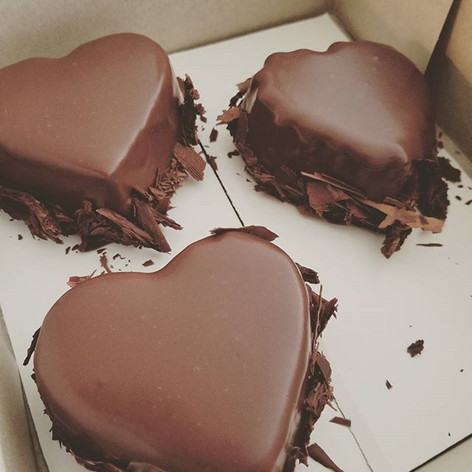 Red wine and dark chocolate mousse hearts.