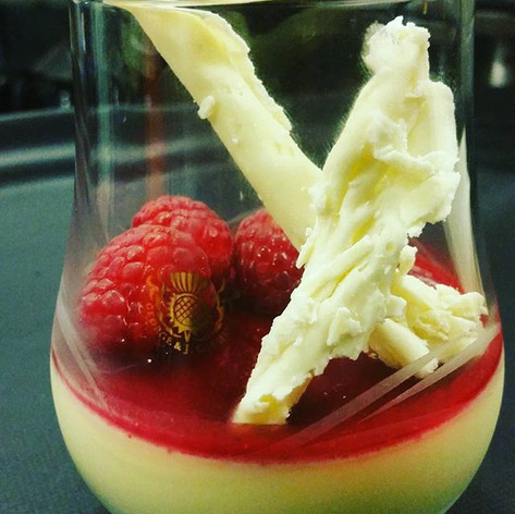 Raspberry White Chocolate Pot de Creme.