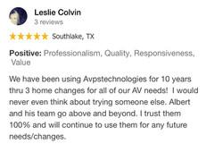Avpstechnologies Google Review from Leslie Colvin