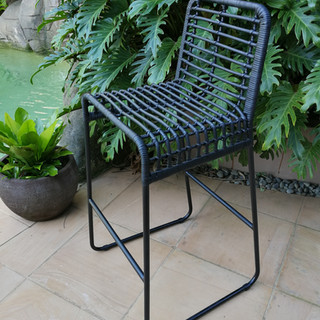 Rattan & Iron Bar stool - 12555
