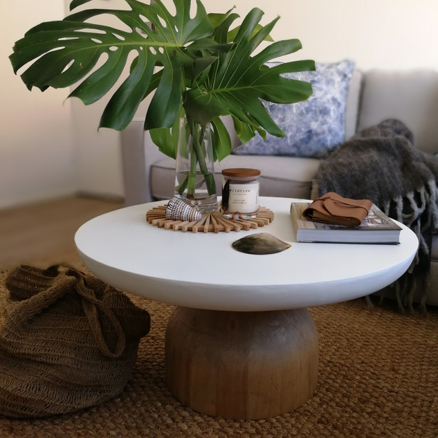 White Resin Top Coffee Table-11490