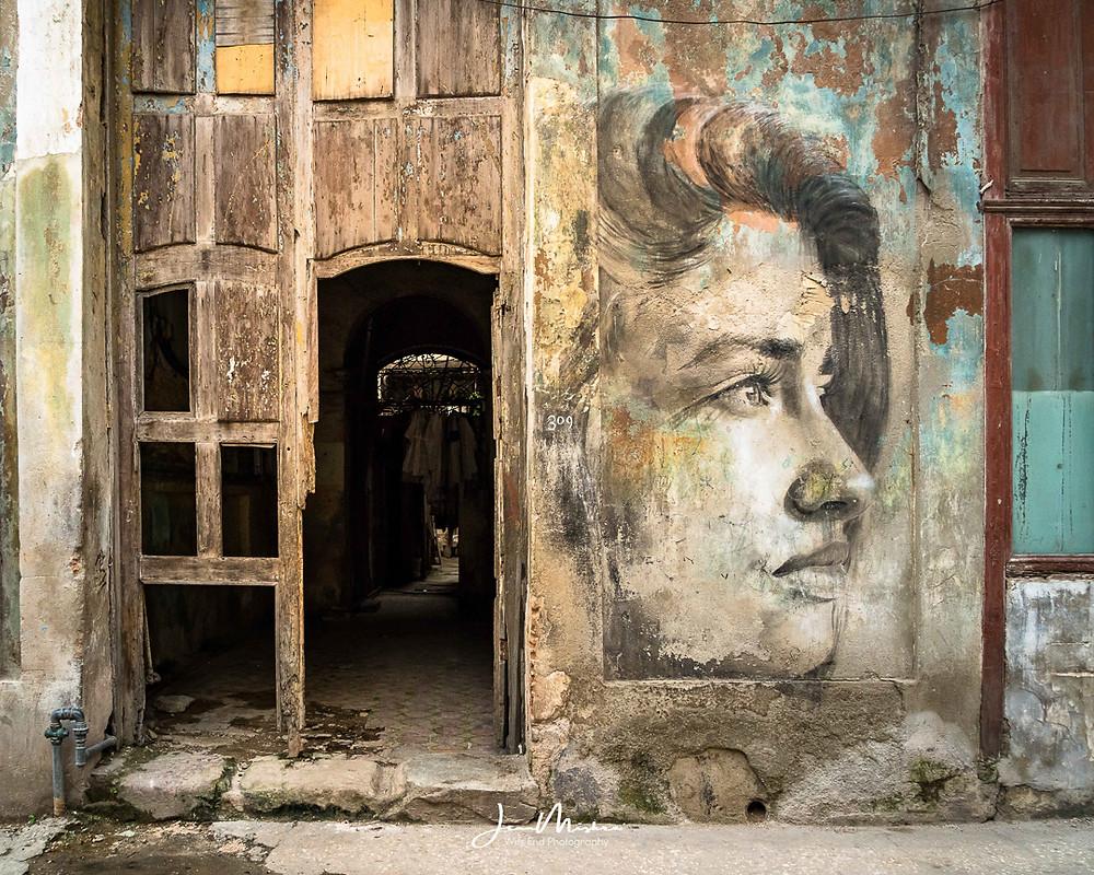 Graffiti in Havana cuba woman soulful