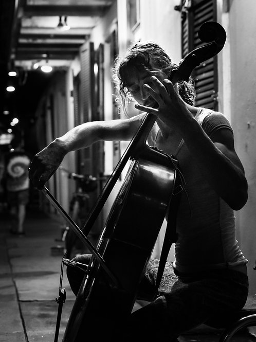 Bourbon Street Cellist Black and White