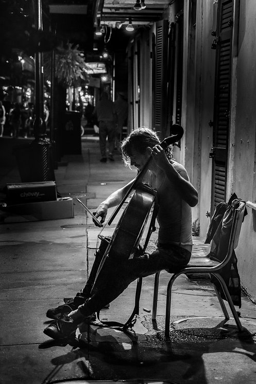 Bourbon Street Cellist Black and White