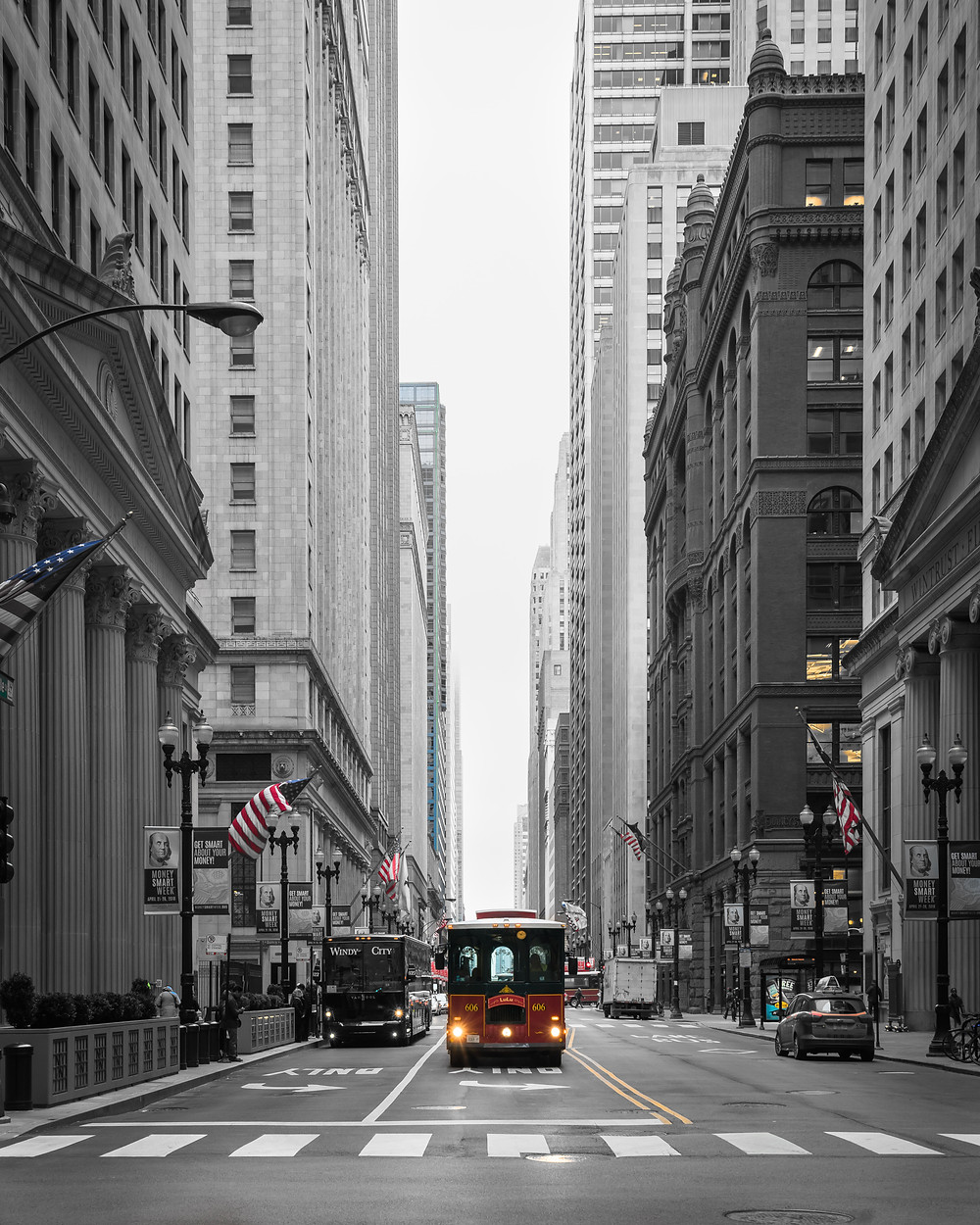 Trolly on LaSalle Street in chicago