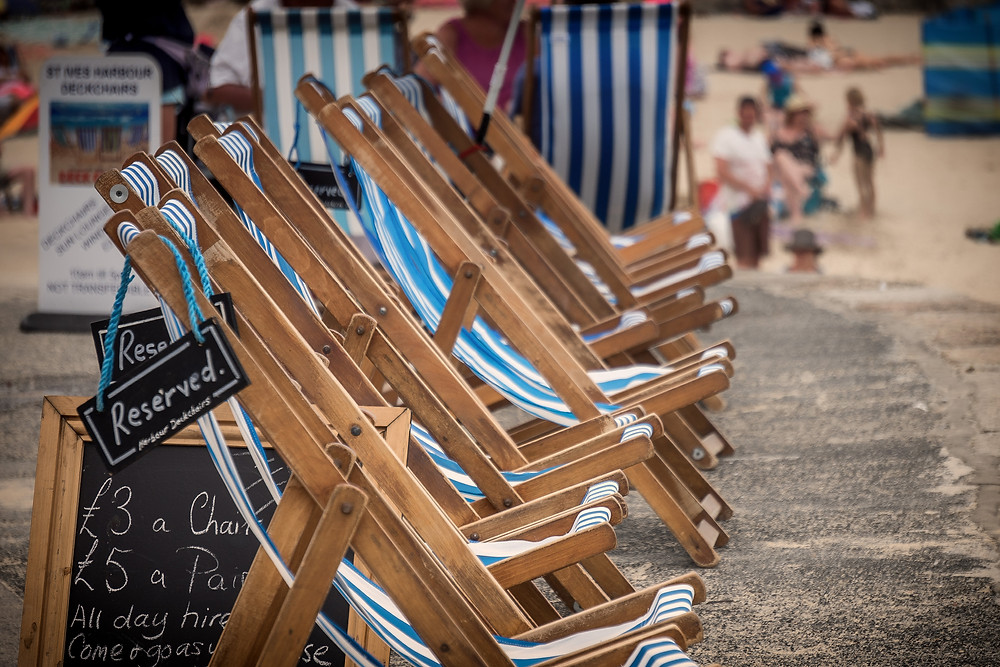 Row of deck chairs at the beach