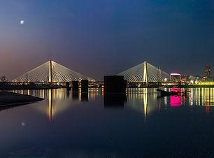 Sunrise over Mississippi River St. Louis skyline Musial bridge