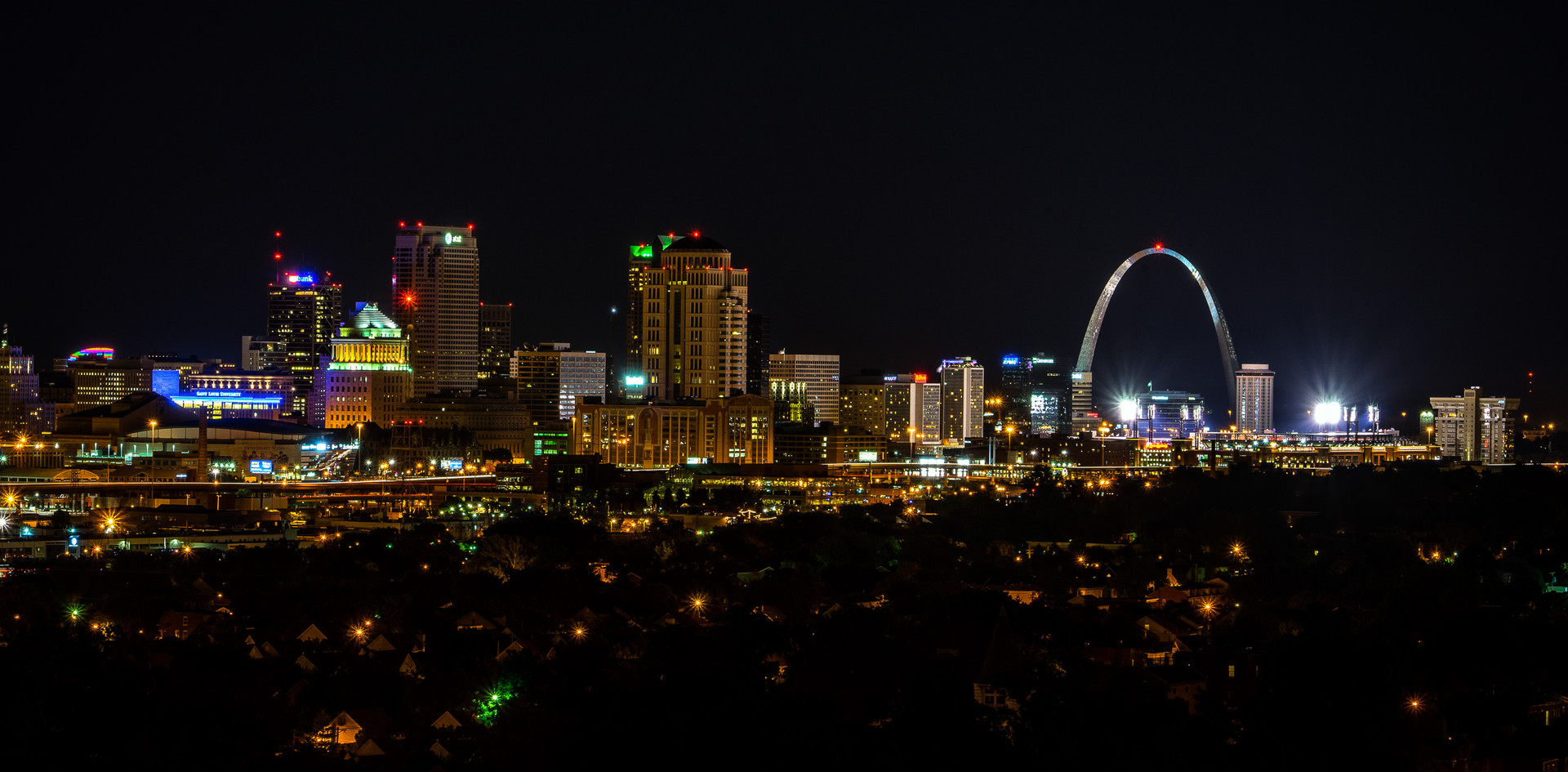 Arch from Compton Water Tower (skyline at night)