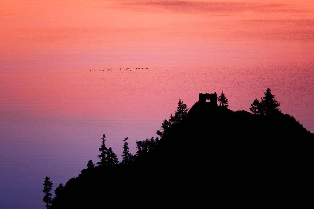 Silhouette photo sunset teahouse birds