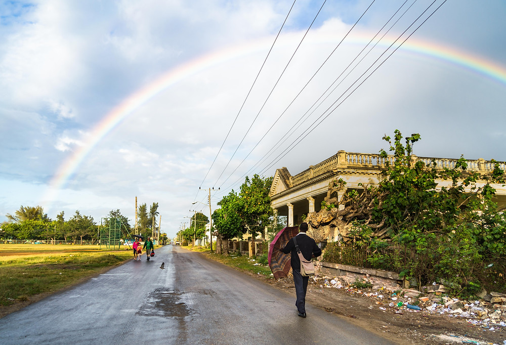 Photo road rainbow cienfuegos cuba