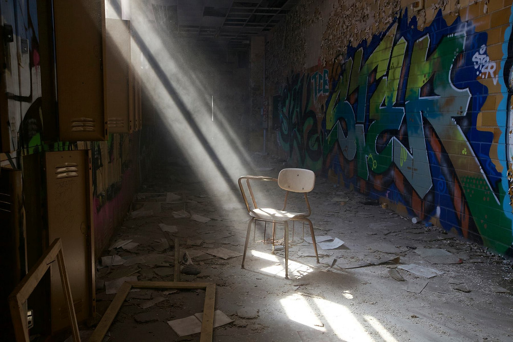 Ray of light Abandoned building desk chair