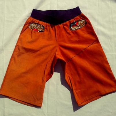 Short Homme velours orange et Wax
