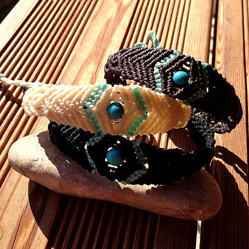 Bracelet macramé losange et pierre turquoise