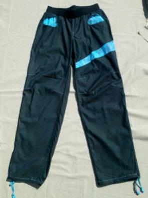 Pantalon Femme en jean stretch anthracite et imprimé turquoise Taille M