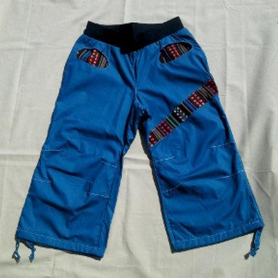 Pantacourt Femme en coton bleu canard et tissu mexicain Taille XS