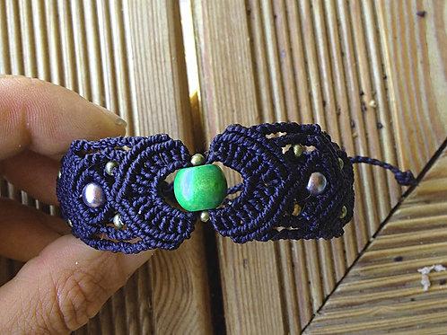 Bracelet macramé perle verte et grises