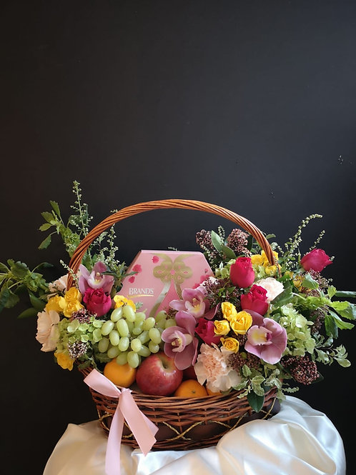 Fresh Fruit Floral Basket