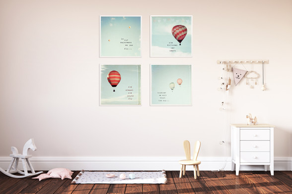 Hot air balloon set of 4 prints - also available as canvas wraps, in a range of sizes