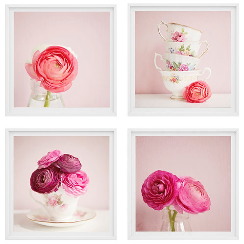 The Tea Cup Flowers set of 4 photo prints, wood blocks, or canvas wraps
