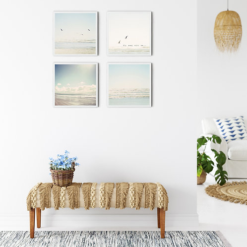 The Pale Blue Seagulls-  set of 4 photo prints, canvas wraps or wood blocks