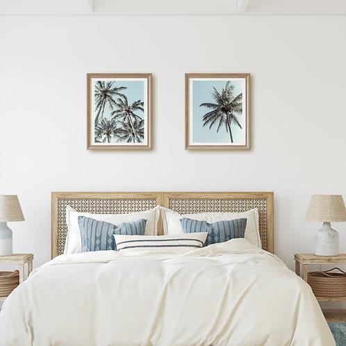 Palm tree wall art set or 2 - Solitary & Unity