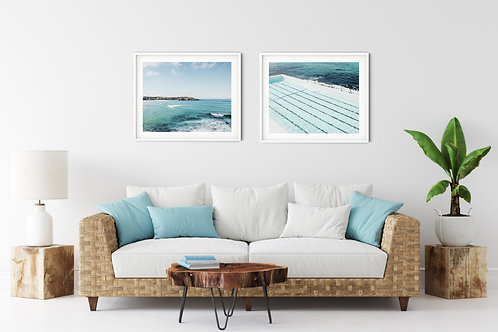 Bondi Beach and Icebergs pool set of 2 coastal prints or wood photo bloc