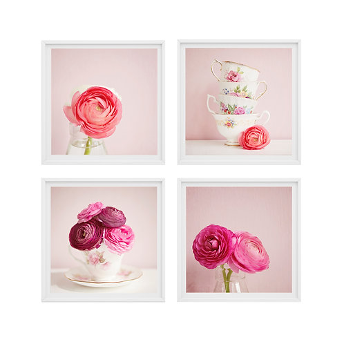 The Tea Cup Flowers set of 4 photo prints or wooden blocks