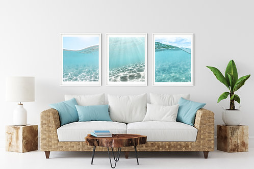 Underwater Ocean Photography set of 3 prints or canvas wraps