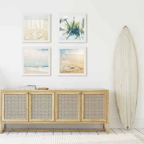 Beach LOVE set of 4 photo prints or canvas wraps