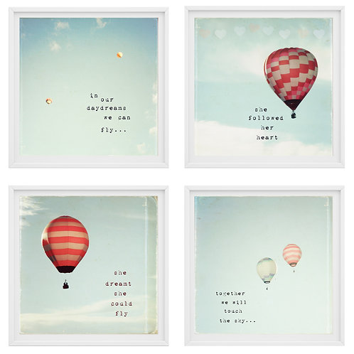 The Hot Air Balloons set of 4 photo prints or canvas wraps