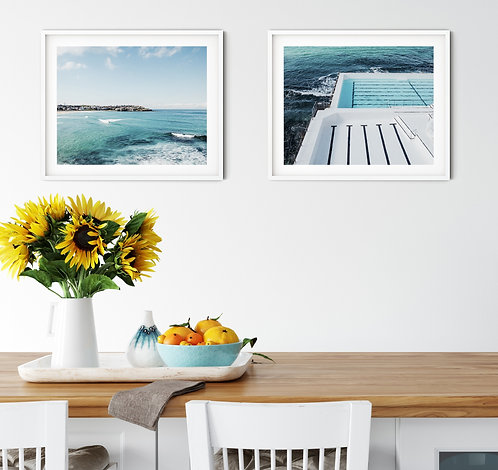 Bondi Beach and Icebergs pool set of 2 coastal prints, wood blocks or canvases