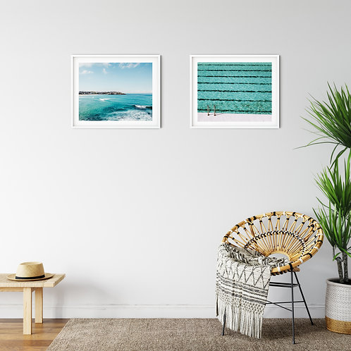 Bondi Beach and Icebergs lap pool set of 2 coastal prints, wood blocks or canvas