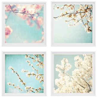 Spring Blossoms set of 4 prints, canvase