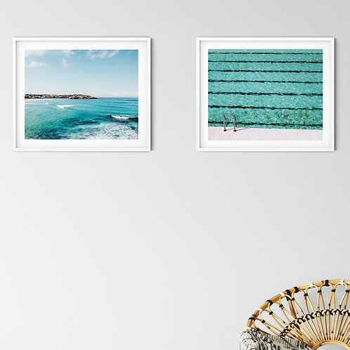 'Bondi Surfers' and 'Laps' coastal set of 2 prints or canvas wraps