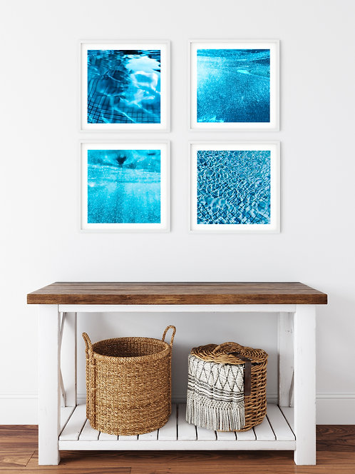 Dive In - set of 4 bright blue prints to add a pop of summer!